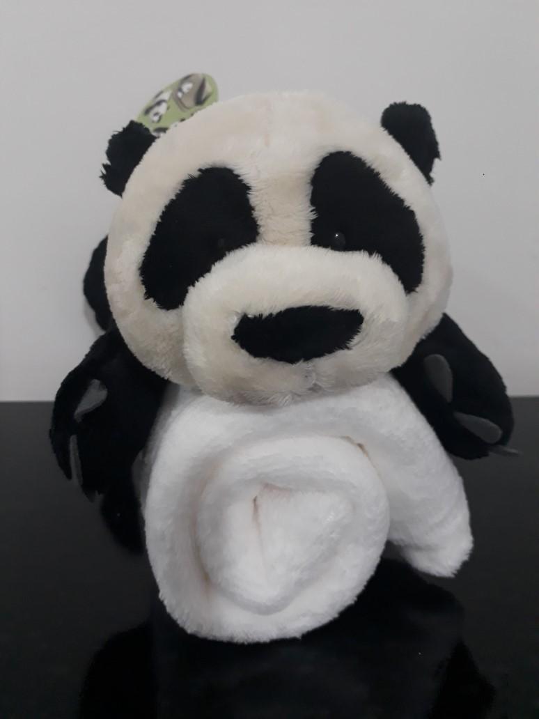 Urso Ursinho Panda 30cm Com Manta Soft Microfibra Naninha Lindo Presente Para Mamãe Maternidade Bebês Neném