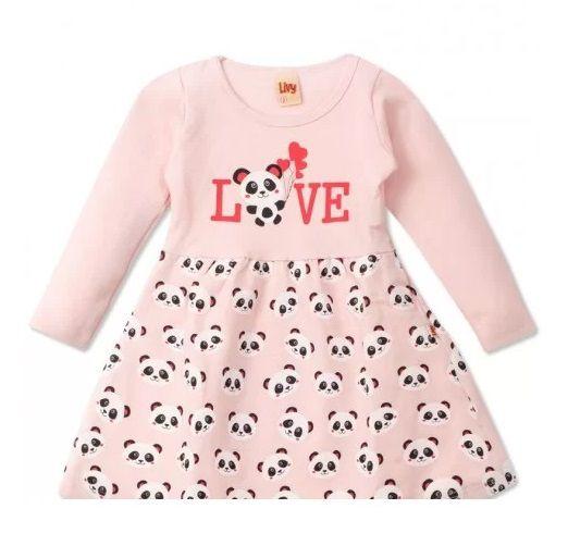 Vestido Rosa Love Pandinhas Bebê Urso Panda Infantil Roupa Ursinho Algodão Macio -  Mimos para Neném Menina