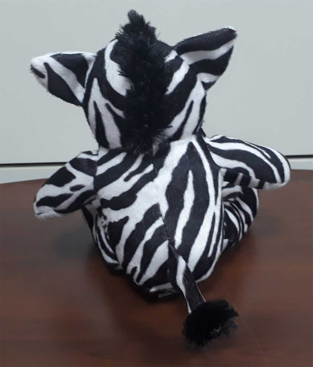 Zebra de Pelúcia Safari Selva Animal Macio 25cm de altura Nicho para Quarto Presente Criança Bebê Aniversário Neném Naninha Nana