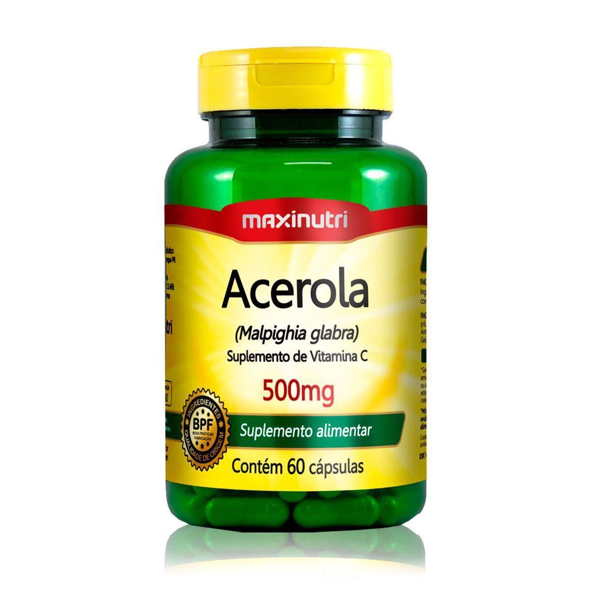 Acerola 500mg 60 Cápsulas Maxinutri