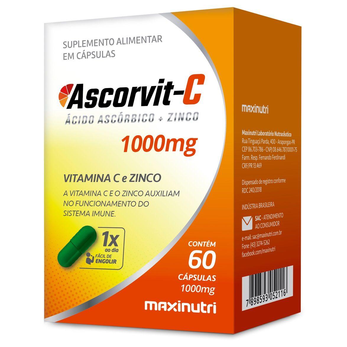 Ascorvit-C Vitamina C 1000mg 60 Cápsulas Maxinutri