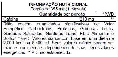 Caffeinex 210mg 60 Cápsulas Atlhetica Nutrition  - Vitta Gold