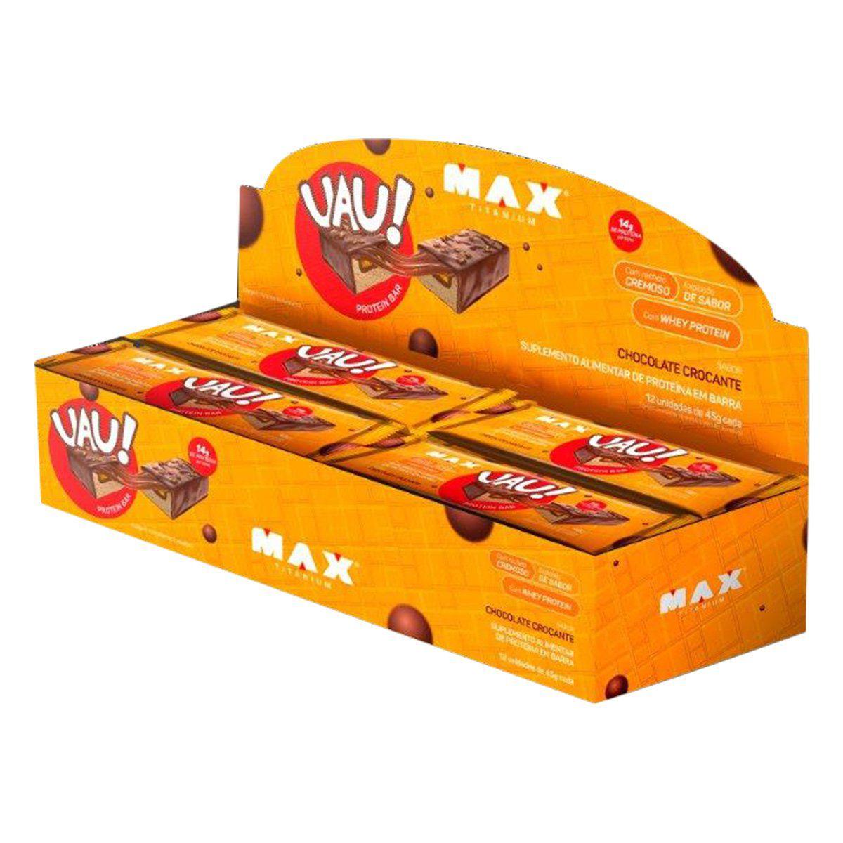 CAIXA UAU PROTEIN BAR CHOCOLATE CROCANTE MAX TITANIUM   - Vitta Gold