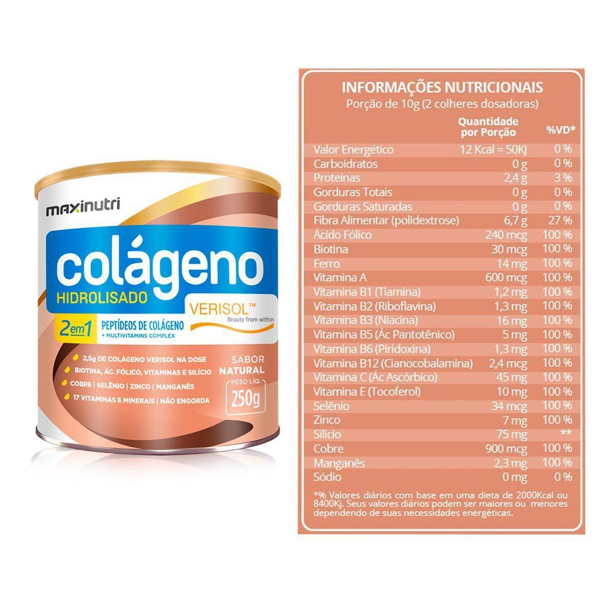 Colágeno Hidrolisado Verisol 2 em 1 250g Maxinutri  - Vitta Gold