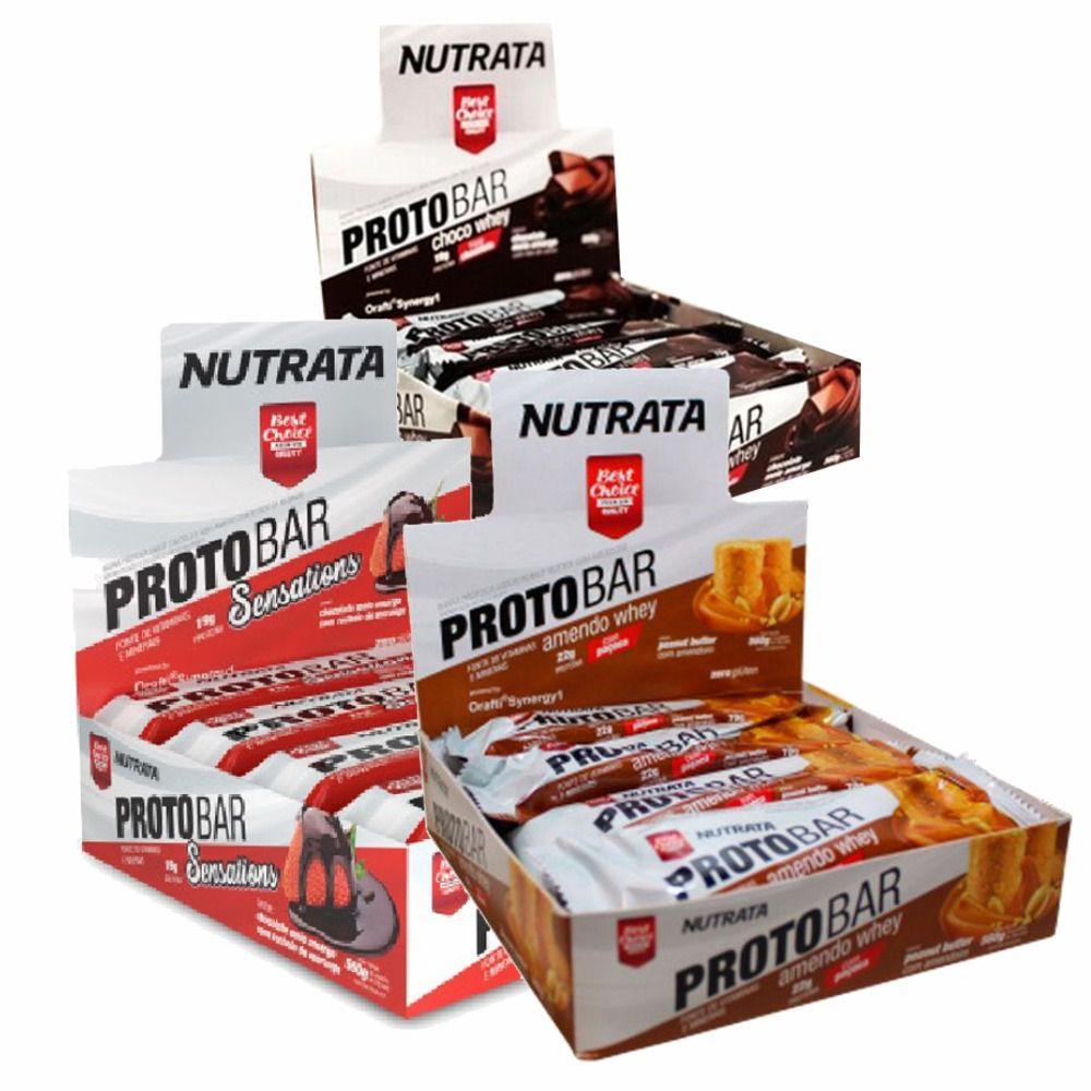 Combo 3x Caixa Protobar com 8 unidades Nutrata  - Vitta Gold