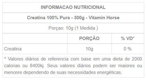 Creatina 100% Pura 300g Vitamin Horse  - Vitta Gold
