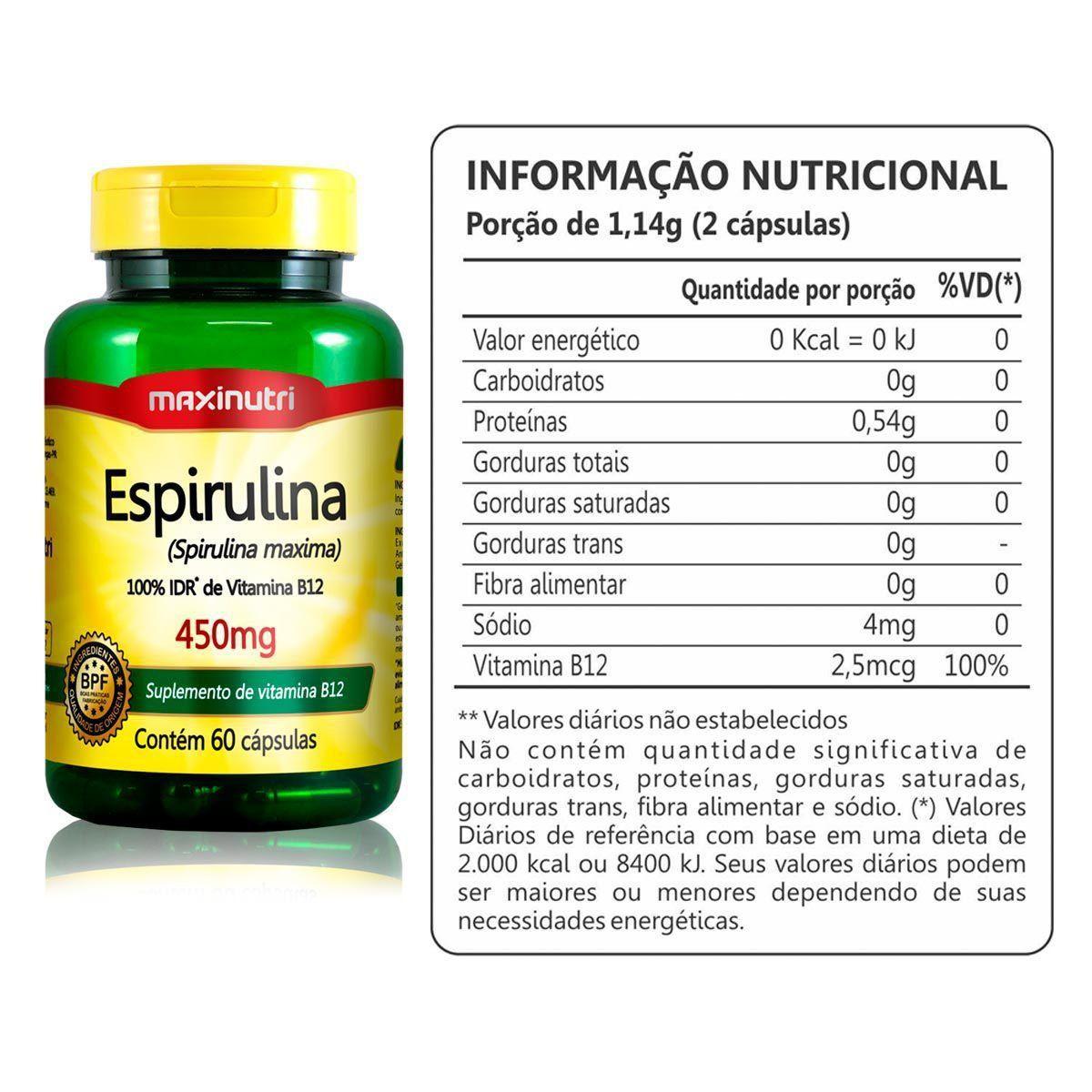Espirulina 450mg 60 Cápsulas Maxinutri  - Vitta Gold