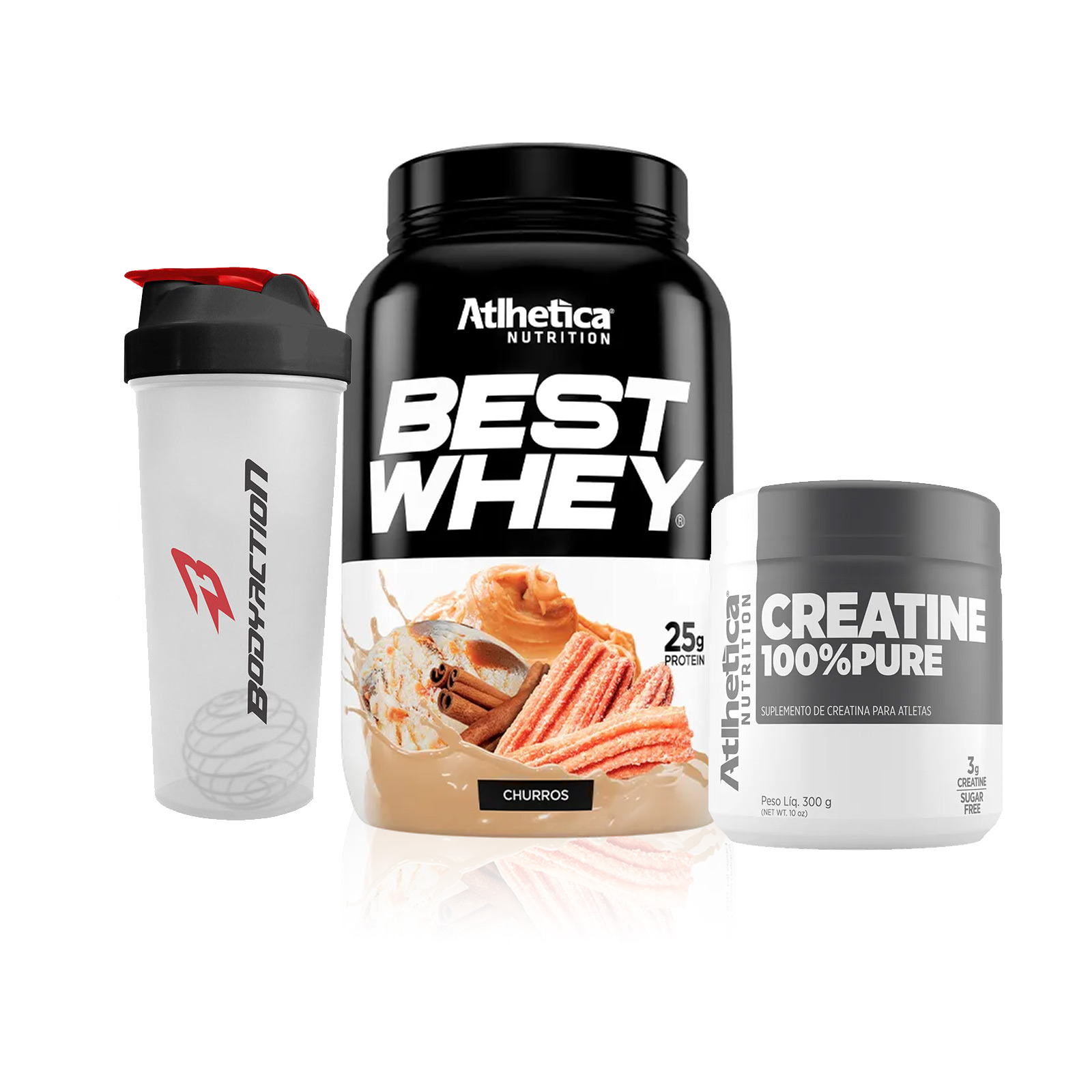 Kit Best Whey + Creatina + Coqueteleira