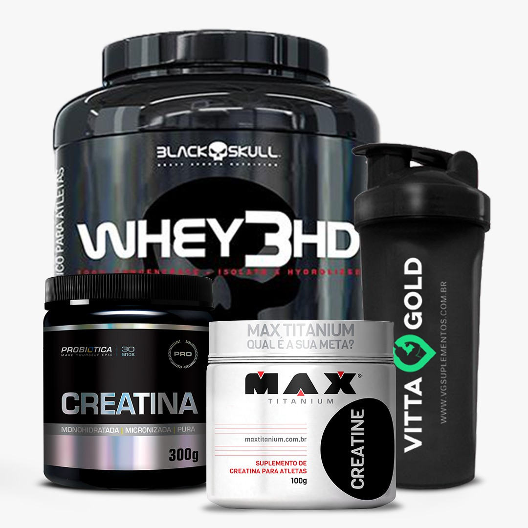 Kit Whey 3HD Black Skull 1,8kg + Creatina 400g + Coqueteleira de Brinde