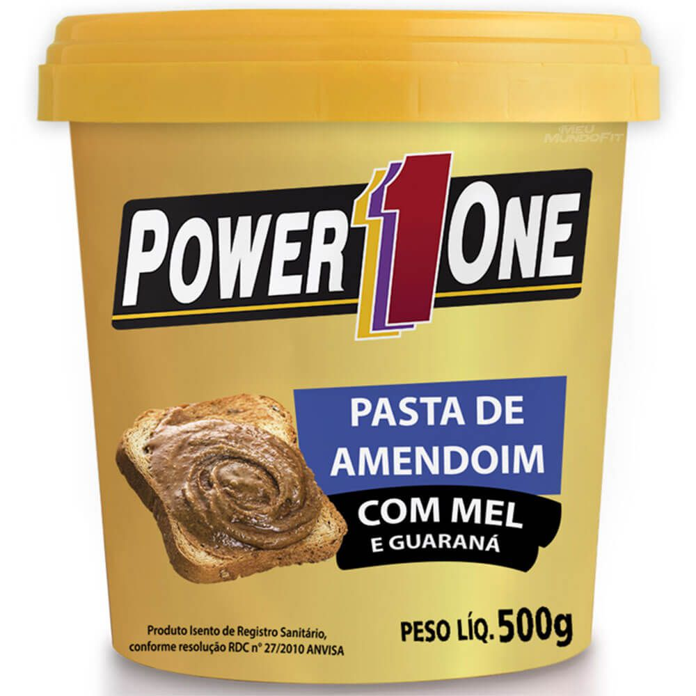 Pasta de Amendoim com Mel e Guaraná 500g Power1One