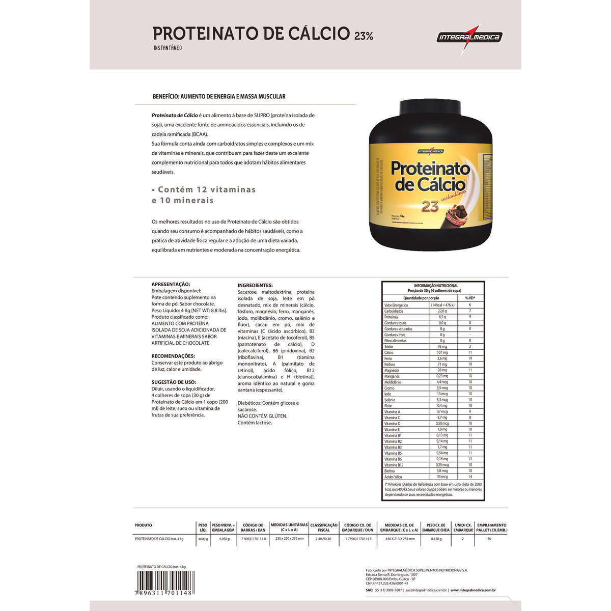 Proteinato de Cálcio Instantâneo 4kg Integralmédica  - Vitta Gold