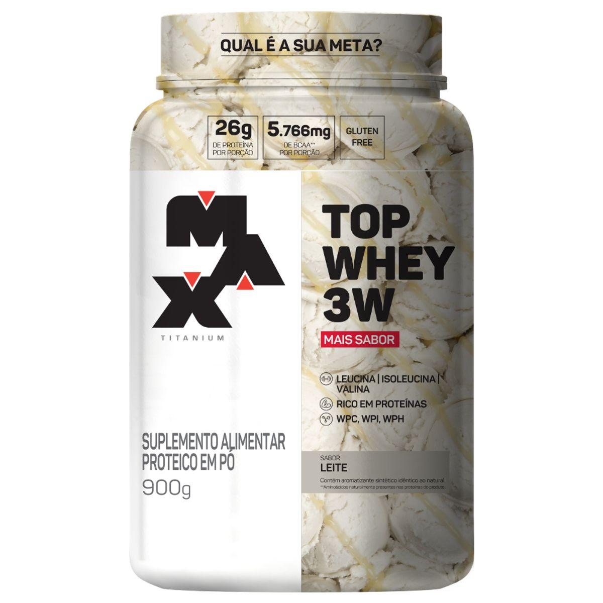 Top Whey 3W Mais Sabor 900g Max Titanium