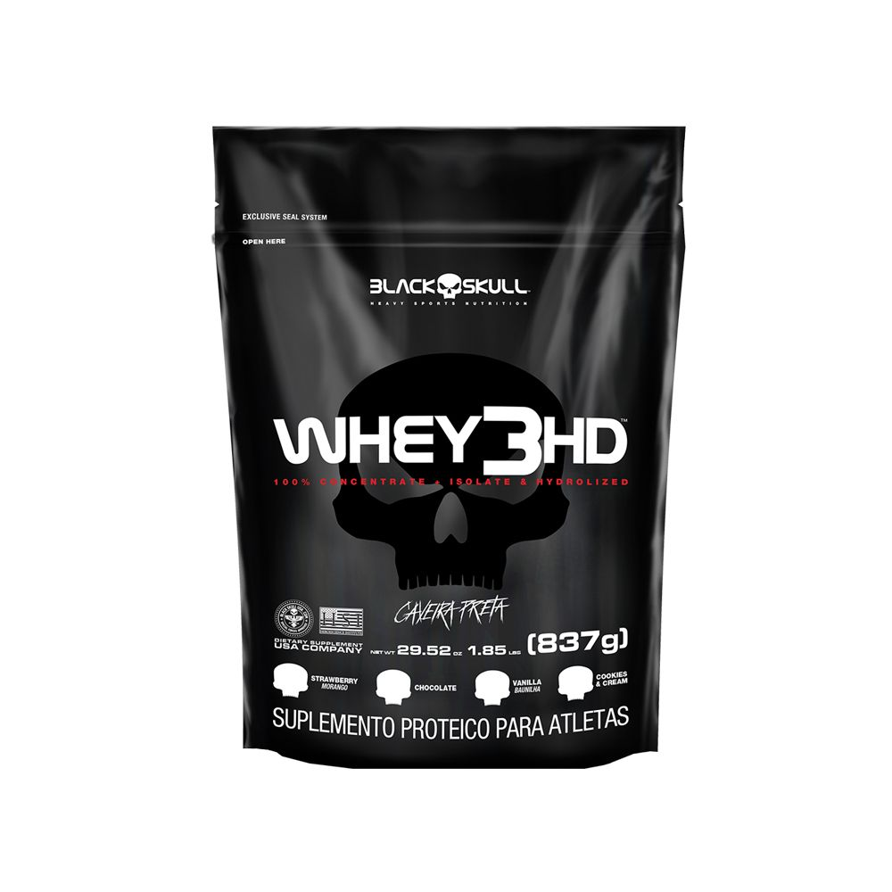 Whey 3HD Refil 837g Black Skull