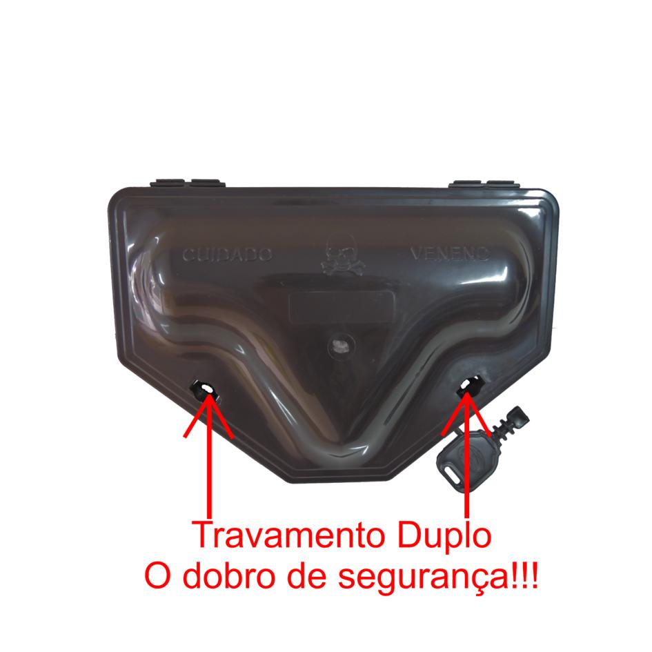 100 Porta Iscas C/ TRAVAMENTO DUPLO + 100 Blocos Extrusado