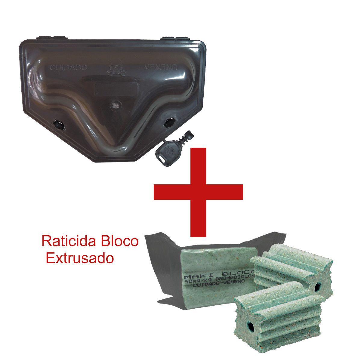 1 Porta Iscas C/ TRAVAMENTO DUPLO + 1 Bloco Extrusado