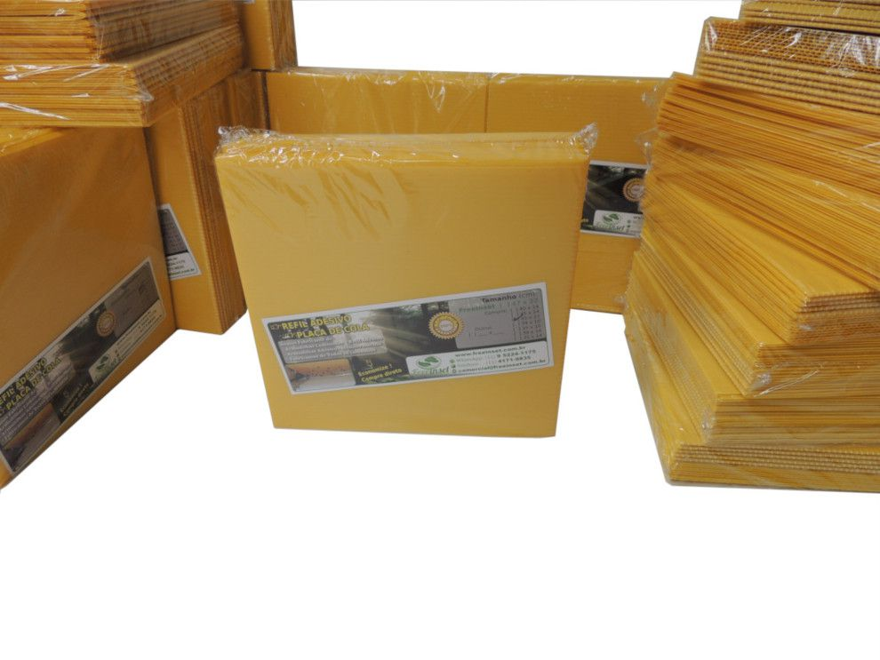 Kit 50 Refil Adesivo 39x10 cm Amarelo para Armadilha Luminosa