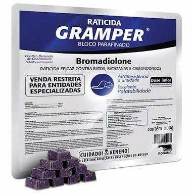 Gramper Bloco Parafinado 500g - Uso Profissional - Bromadiolone - Rogama mata rato, raticida