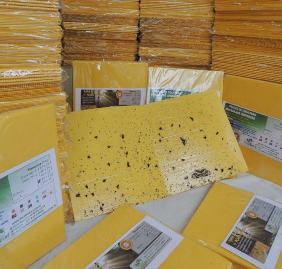 Kit 100 Refil Adesivo 39x10 cm Amarelo para Armadilha Luminosa