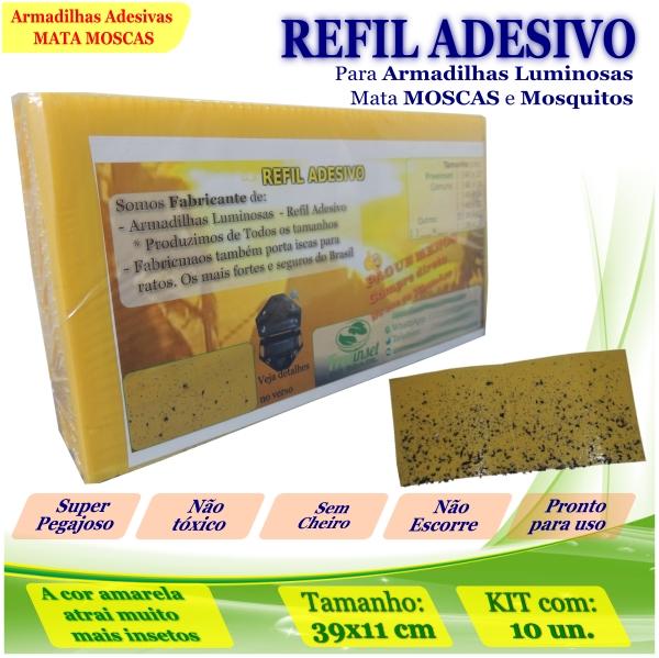 Kit 100 Refil Adesivo 39x11cm AMARELO p/ Armadilha Moscas