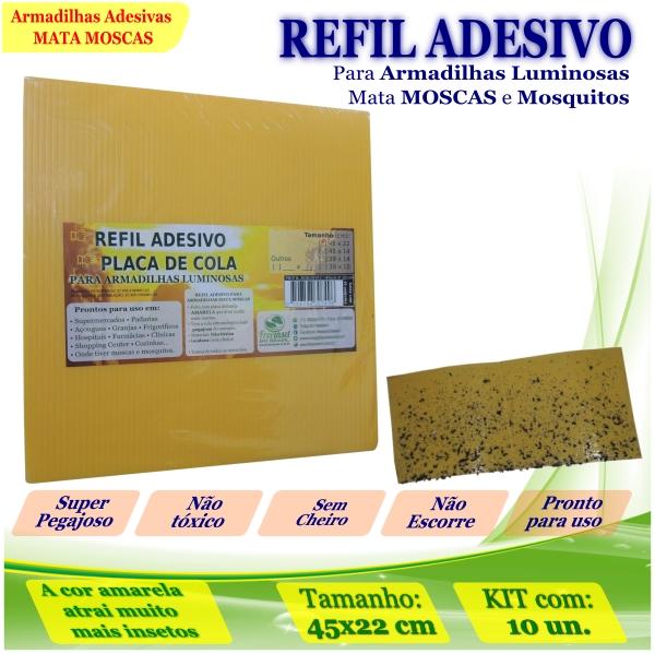 Kit 100 Refil Adesivo 450x220 AMARELO Mata Moscas Mosquito