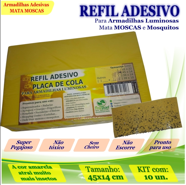 Kit 100 Refil Adesivo 45x14cm AMARELO Mata Moscas Mosquito