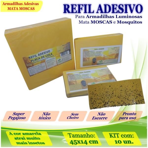 Kit 100 Refil Adesivo 45x14cm AMARELO Mata Mosquito Moscas