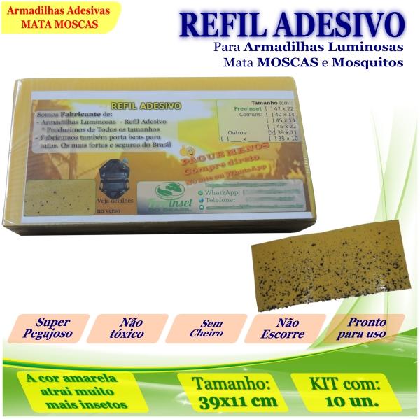 Kit 100 Refil Adesivo AMARELO Mata Moscas Mosquito 39x11cm