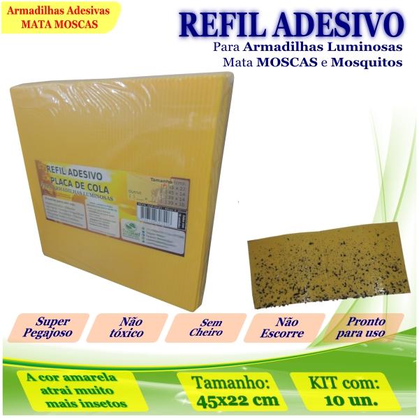 Kit 100 Refil Adesivo AMARELO p/ Matar Mosquitos 45x22cm