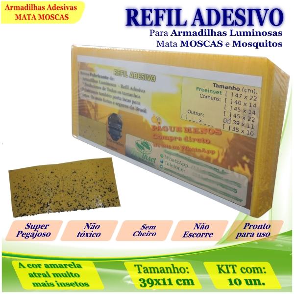 Kit 10 Refil Adesivo 39x11cm AMARELO p/ Armadilha Mosquito