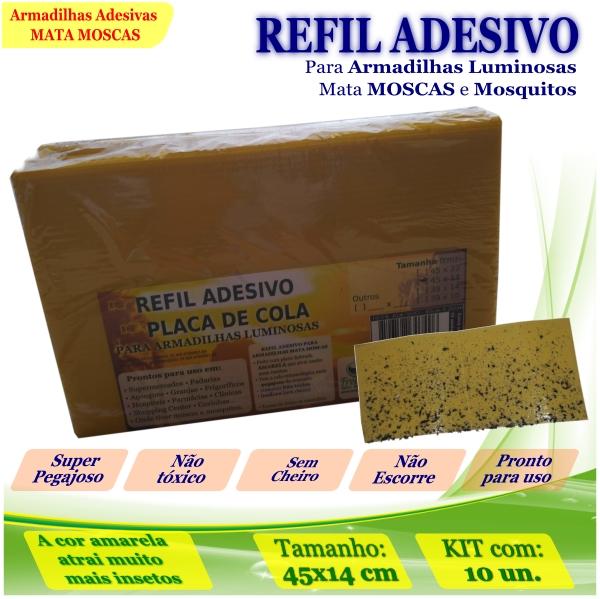 Kit 10 Refil Adesivo 45x14cm AMARELO Mata Mosca Mosquito