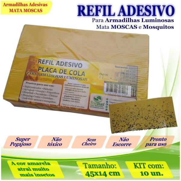 Kit 10 Refil Adesivo 45x14cm AMARELO Mata Moscas Mosquito