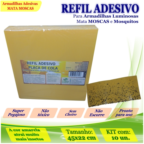 Kit 10 Refil Adesivo AMARELO Mata Moscas Mosquito 45x22cm