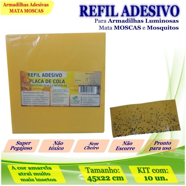 Kit 10 Refil Adesivo AMARELO Mata Mosquito Moscas 45x22cm