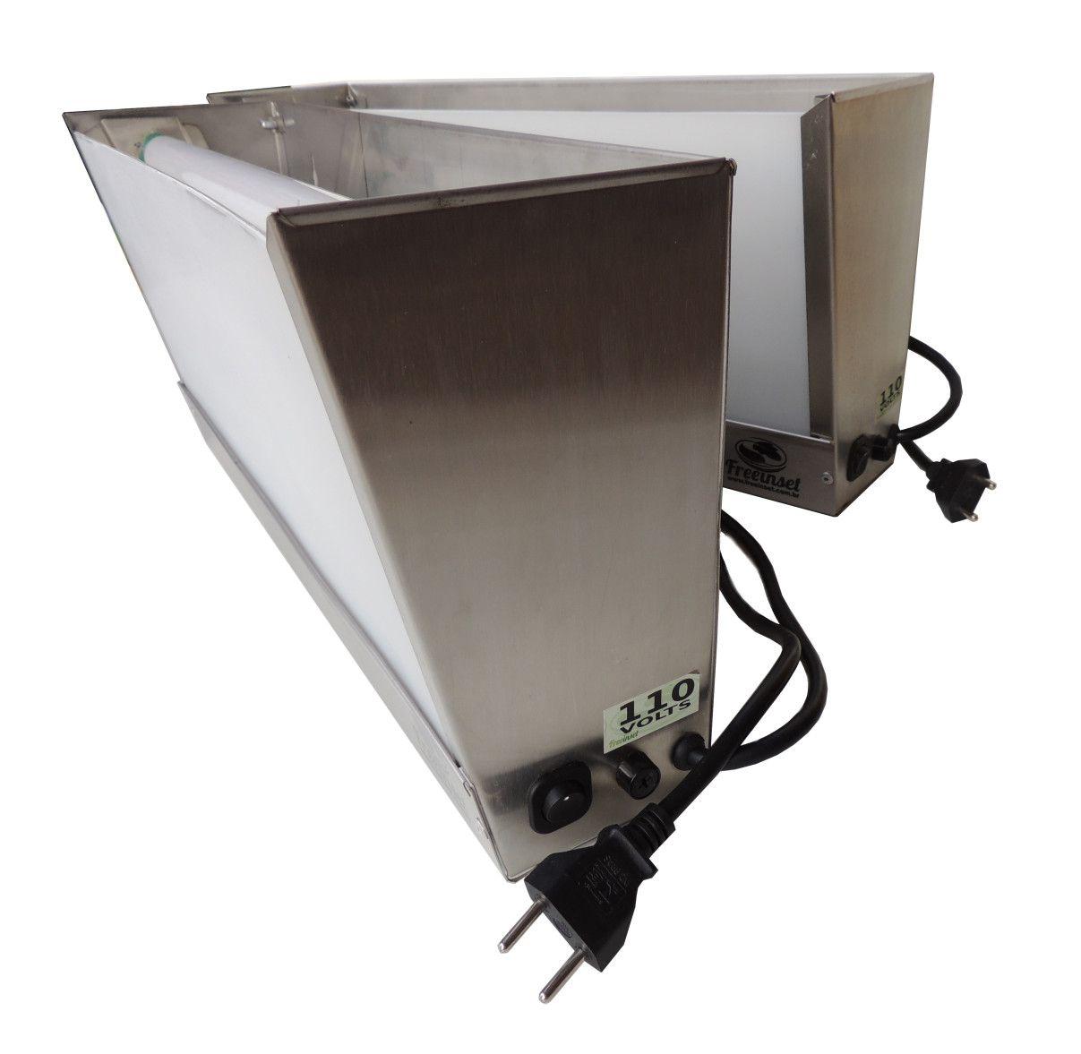 Kit 10 refis + Armadilhas Luminosas TOP, 30w, até 50m², 220V, Aço Inox Escovado, Matar Moscas e Mosquitos