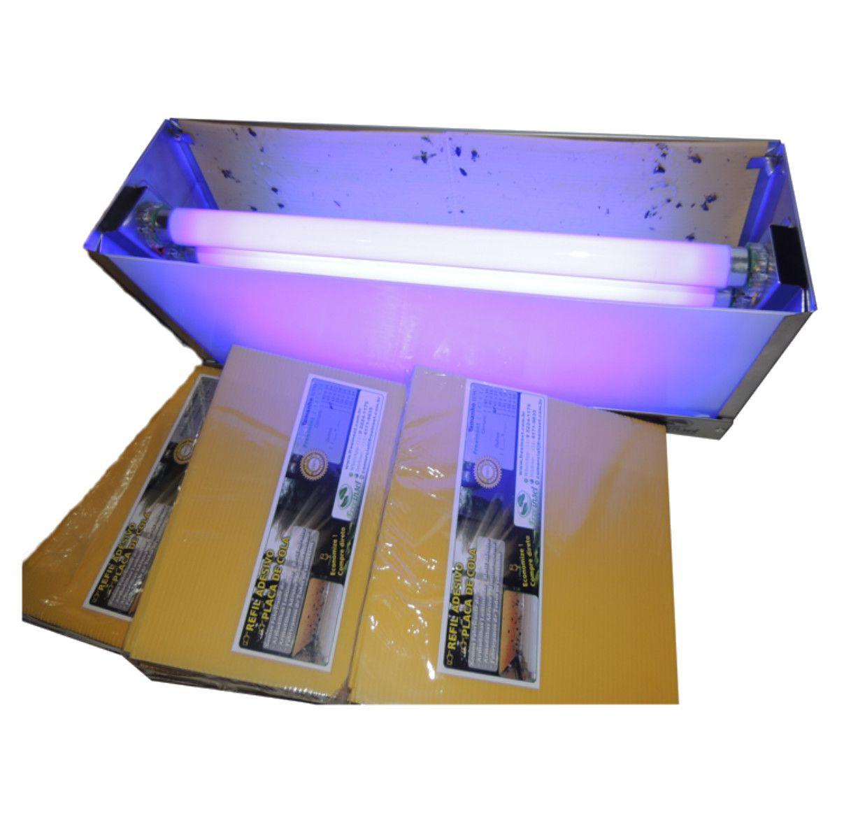 Kit 10 refis + Armadilhas Luminosas TOP, 60w, até 110m², 110V, Aço Inox Escovado, Matar Moscas e Mosquitos