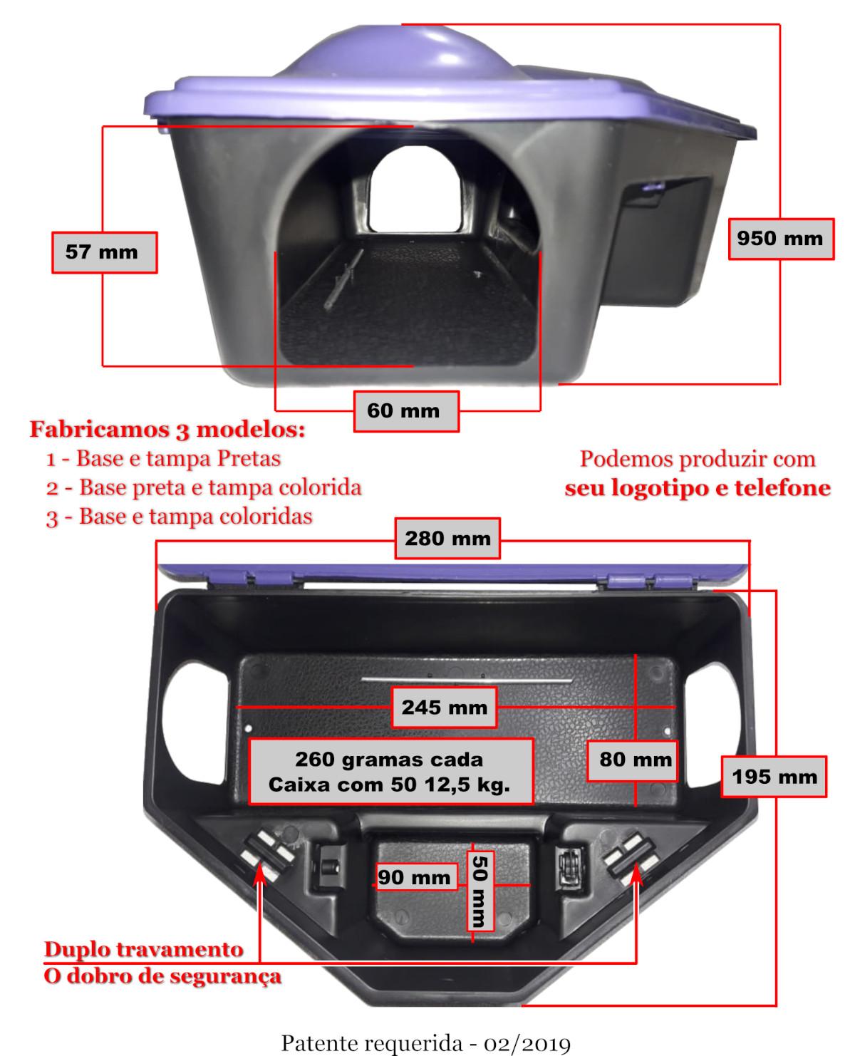 KIT 1200 Mata Rato Porta Iscas Resistente 2 TRAVA c/ Chave