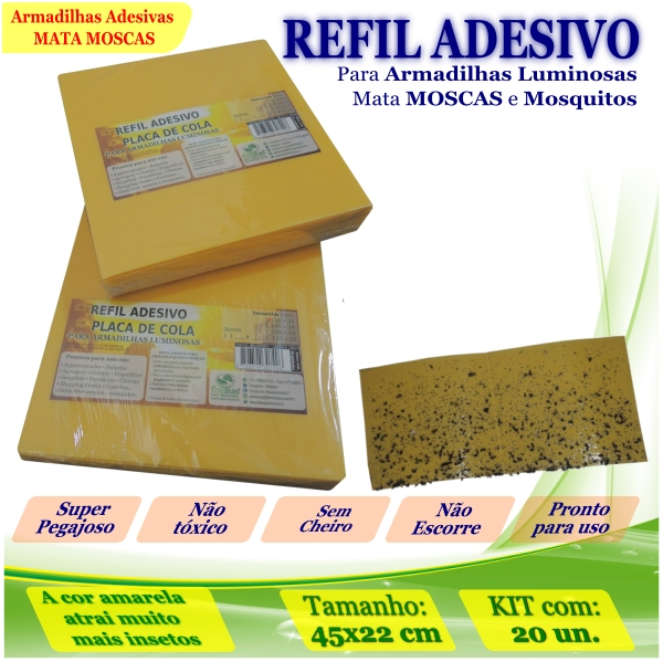 Kit 200 Refil Adesivo 450x220 AMARELO Mata Moscas Mosquito