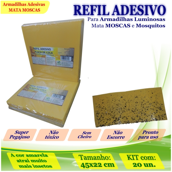 Kit 200 Refil Adesivo 45x22cm AMARELO Armadilha Mata Mosca