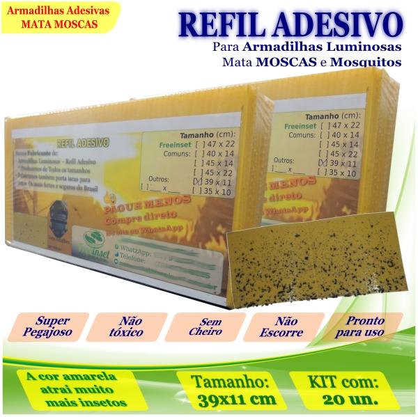 Kit 20 Refil Adesivo 39x11cm AMARELO p/ Armadilha Mosquito