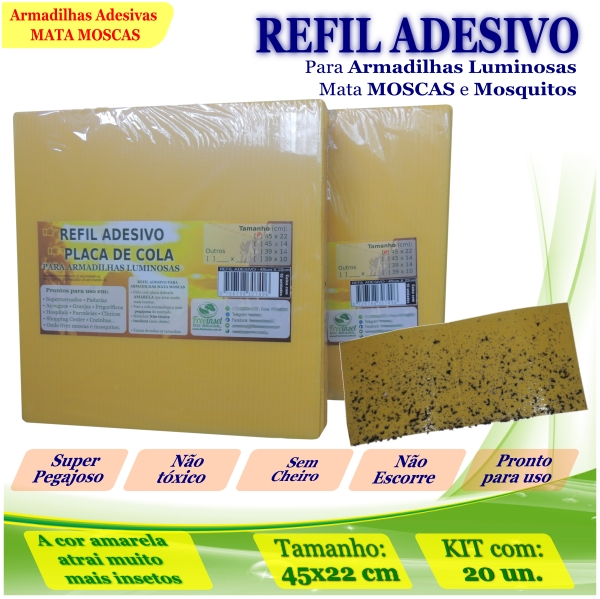 Kit 20 Refil Adesivo 450x220mm AMARELO Armadilha Mosquito