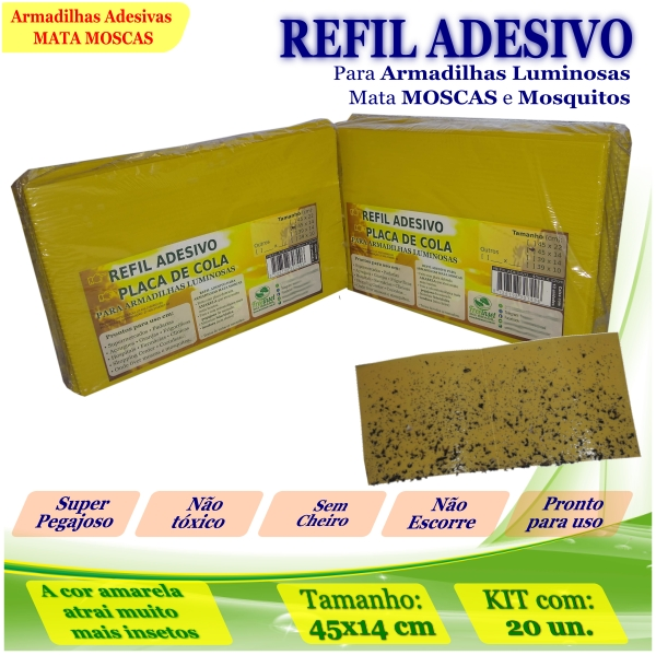 Kit 20 Refil Adesivo 45x14cm AMARELO Mata Moscas Mosquitos