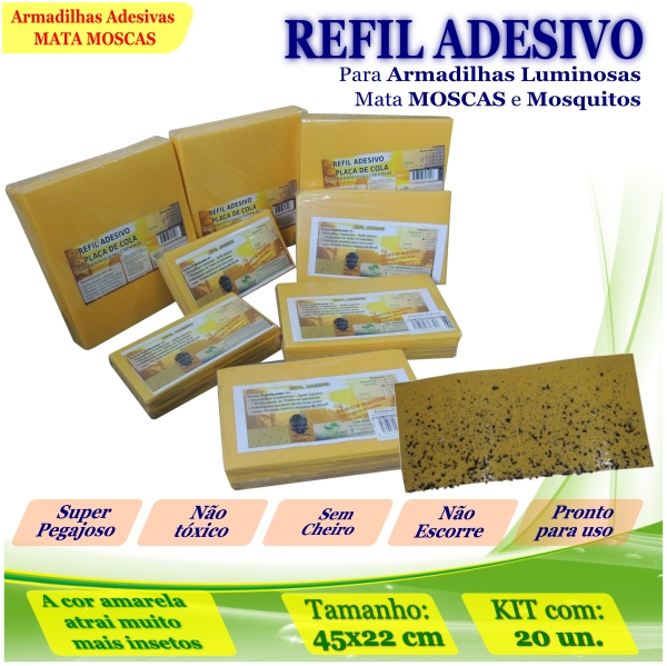 Kit 20 Refil Adesivo 45x22cm AMARELO Armadilhas Mosquito
