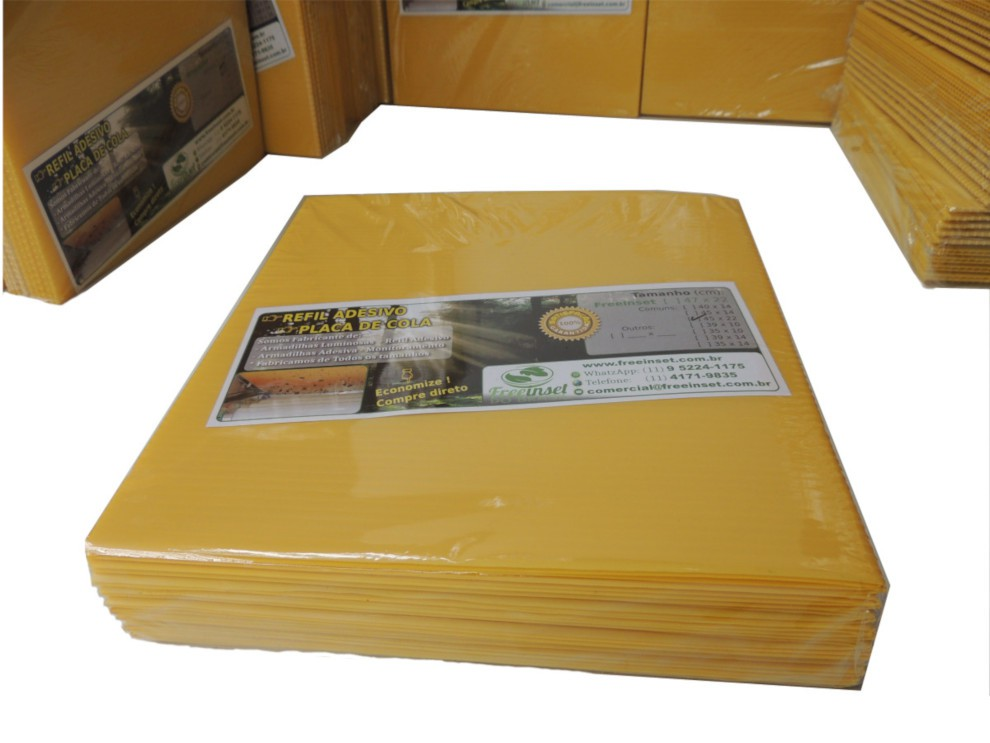 Kit 20 Refil Adesivo 47x22 cm Amarelo para Armadilha Matar Mosquitos
