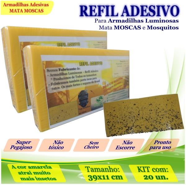 Kit 20 Refil Adesivo AMARELO 39x11cm Pega Moscas Mosquito