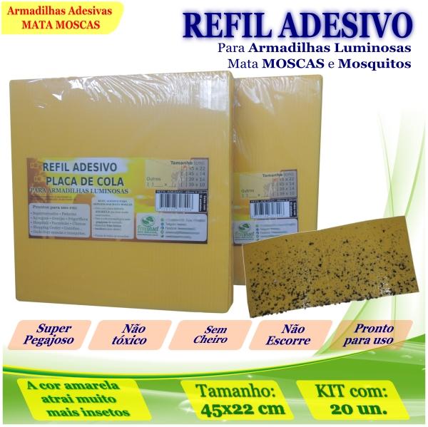 Kit 20 Refil Adesivo AMARELO 45x22cm Mata Mosquito Moscas