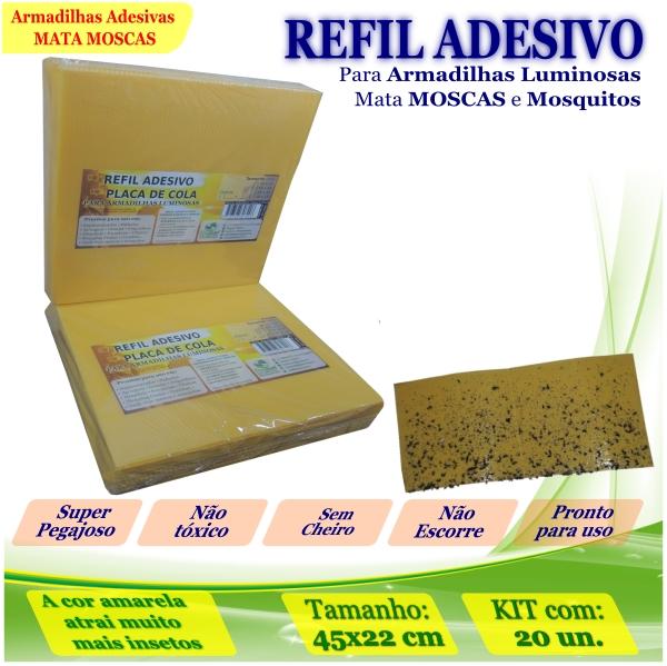 Kit 20 Refil Adesivo AMARELO Mata Mosquito Moscas 45x22cm