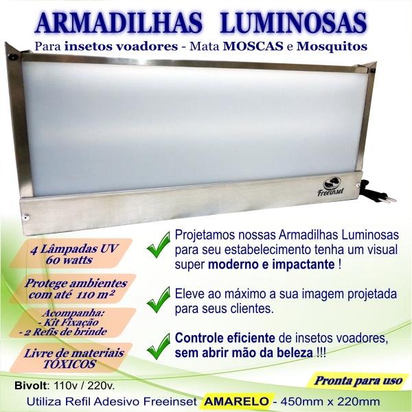 KIT 2 Armadilha Adesiva+20 Refis Bivolt Inox pega mosc 110m²