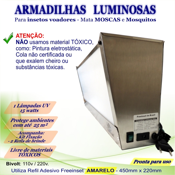 KIT 2 Armadilha Luminosa+20 Refis Bivolt Inox moscas 25m²