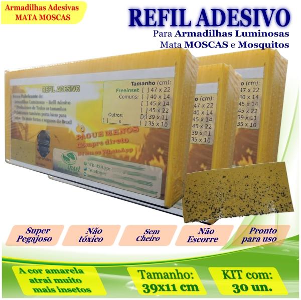 Kit 300 Refil Adesivo 39x11cm AMARELO p/ Armadilha Moscas