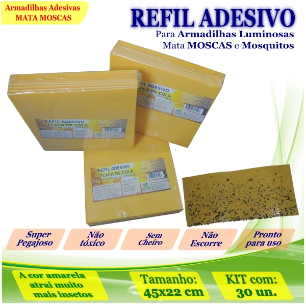 Kit 300 Refil Adesivo AMARELO Mata Moscas Mosquito 45x22cm